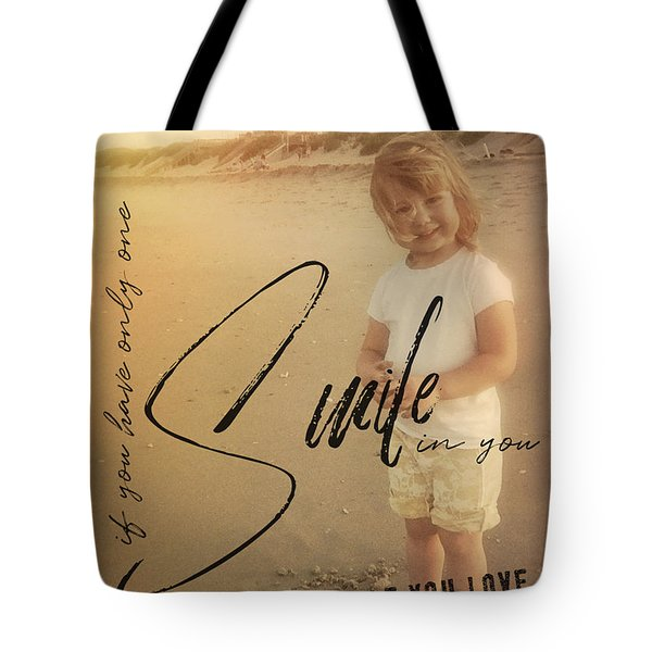 Summer Smile Quote Tote Bag by JAMART Photography