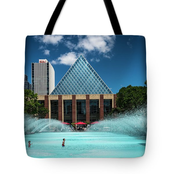 Tote Bag featuring the photograph Summer Splash Downtown Edmonton by Darcy Michaelchuk