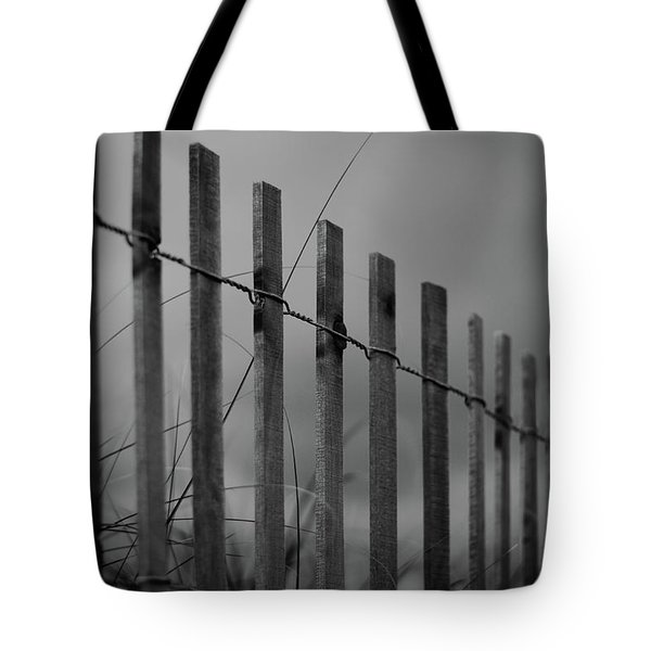 Tote Bag featuring the photograph Summer Storm Beach Fence Mono by Laura Fasulo