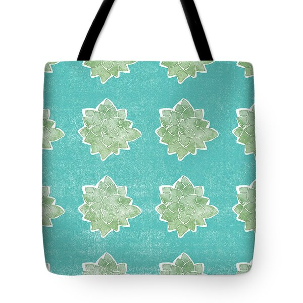 Tote Bag featuring the mixed media Summer Succulents- Art By Linda Woods by Linda Woods