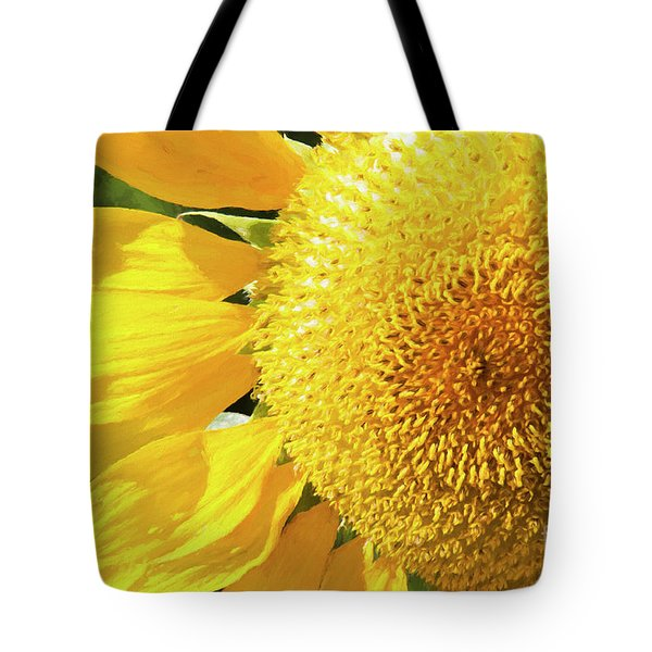 Tote Bag featuring the photograph Summer Sunflower Painterly by Andee Design