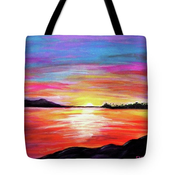 Tote Bag featuring the painting Summer Sunrise by Sonya Nancy Capling-Bacle