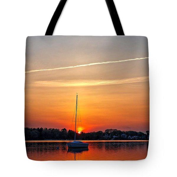 Summer Sunset At Anchor Tote Bag