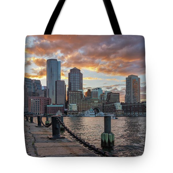 Summer Sunset At Boston's Fan Pier Tote Bag