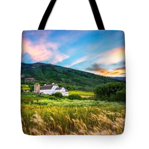Summer Sunset At Park City Barn Tote Bag