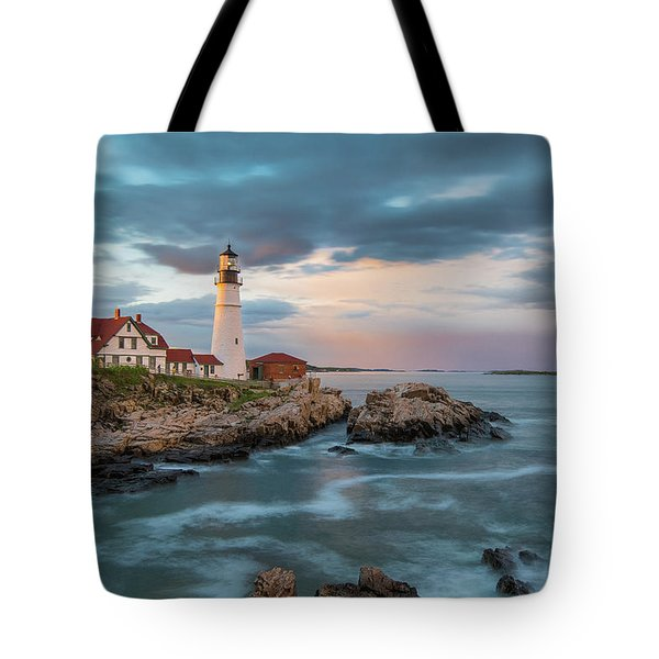 Summer Sunset At Portland Head Light Tote Bag