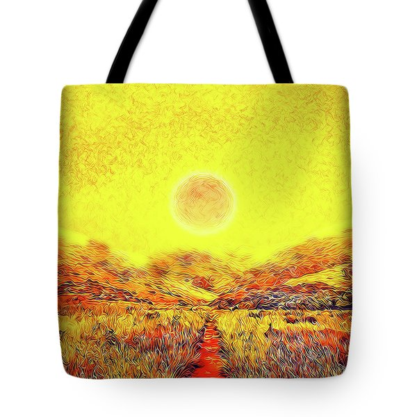 Tote Bag featuring the digital art Summer Sunset Field - Trail In Marin California by Joel Bruce Wallach