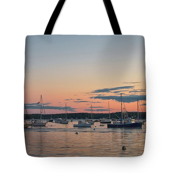 Summer Sunset In Boothbay Harbor Tote Bag