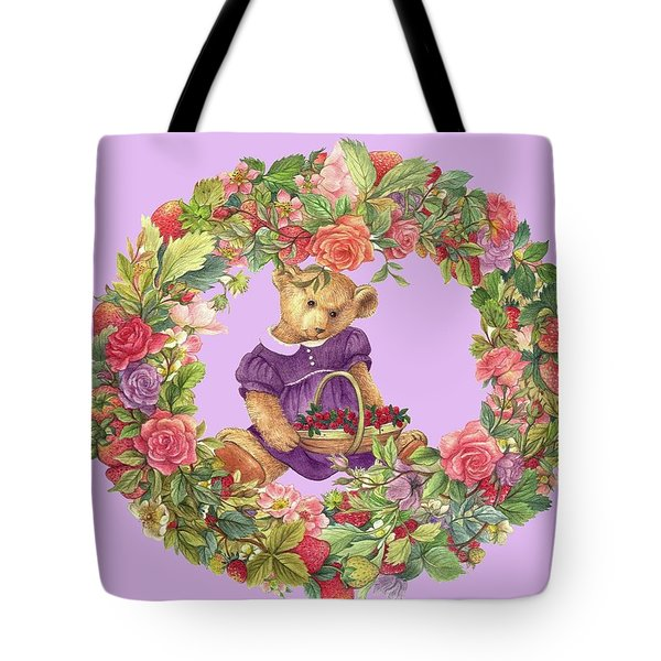 Summer Teddy Bear With Roses Tote Bag
