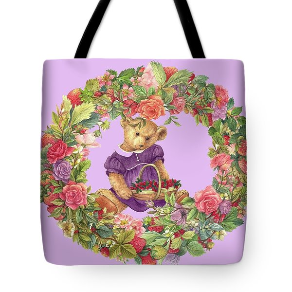 Tote Bag featuring the painting Summer Teddy Bear With Roses by Judith Cheng
