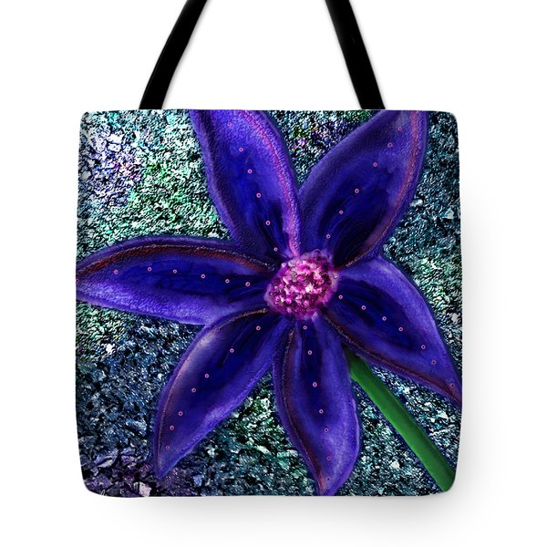 Tote Bag featuring the digital art Summer's Blue Flower by Iowan Stone-Flowers