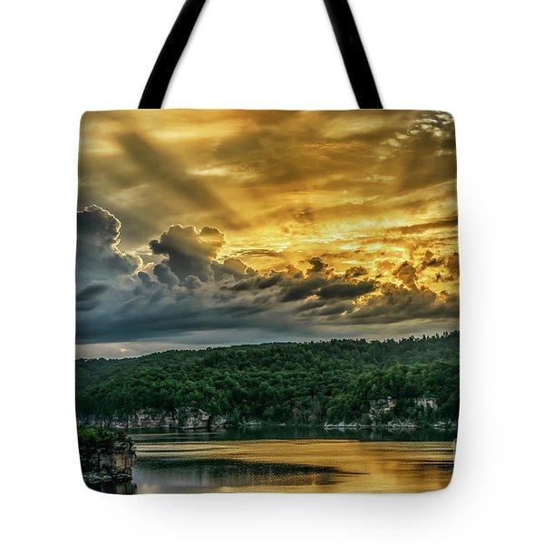 Summersville Lake Sunrise Tote Bag