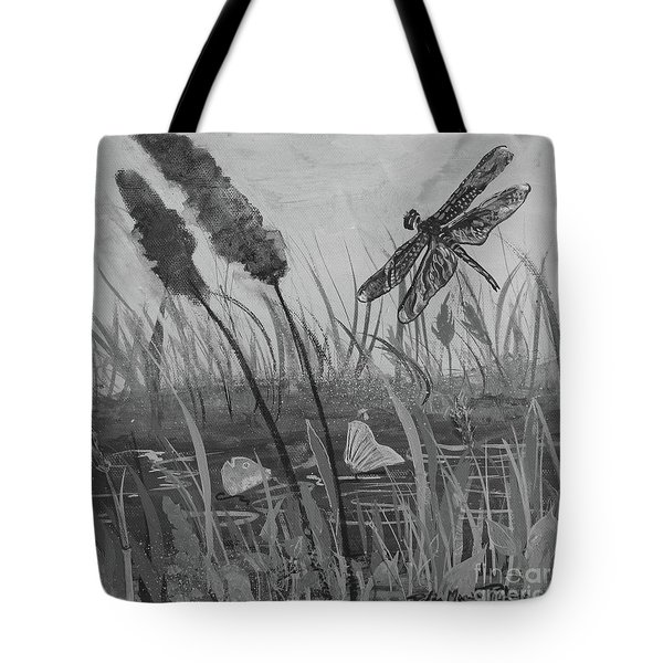 Tote Bag featuring the painting Summertime Dragonfly Black And White by Robin Maria Pedrero