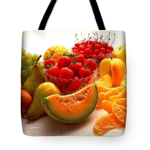 Summertime Fruit On White Tote Bag by Thomas Firak