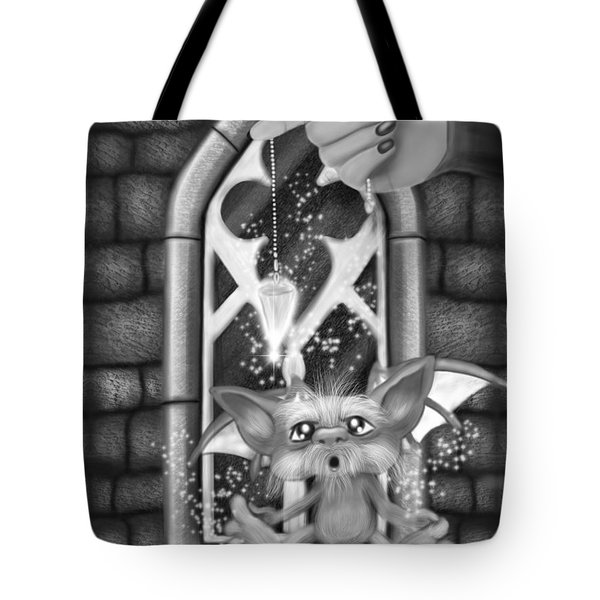 Summoned Pet - Black And White Fantasy Art Tote Bag