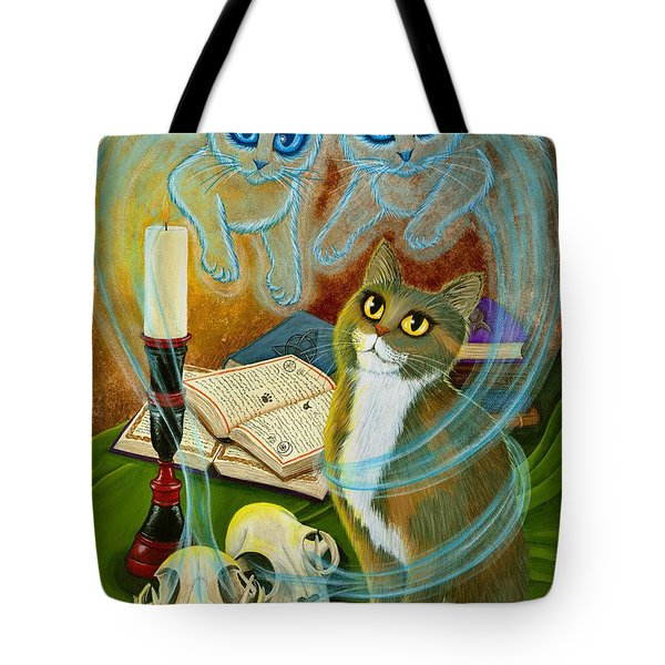 Summoning Old Friends - Ghost Cats Magic Tote Bag