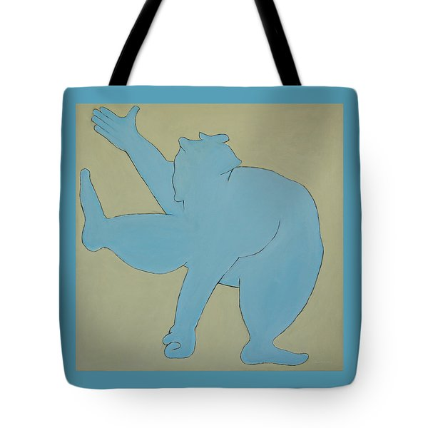 Tote Bag featuring the painting Sumo Wrestler In Blue by Ben Gertsberg