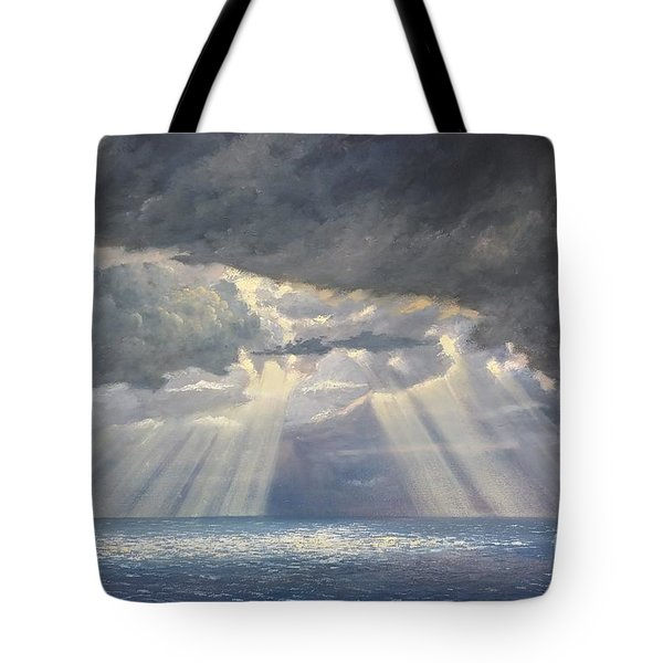 Tote Bag featuring the painting Storm Subsides by Rosario Piazza