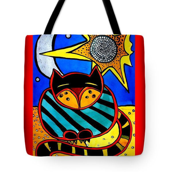 Sun And Moon - Honourable Cat - Art By Dora Hathazi Mendes Tote Bag by Dora Hathazi Mendes