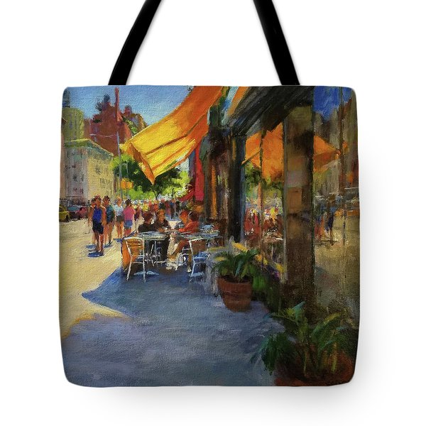 Sun And Shade On Amsterdam Avenue Tote Bag by Peter Salwen