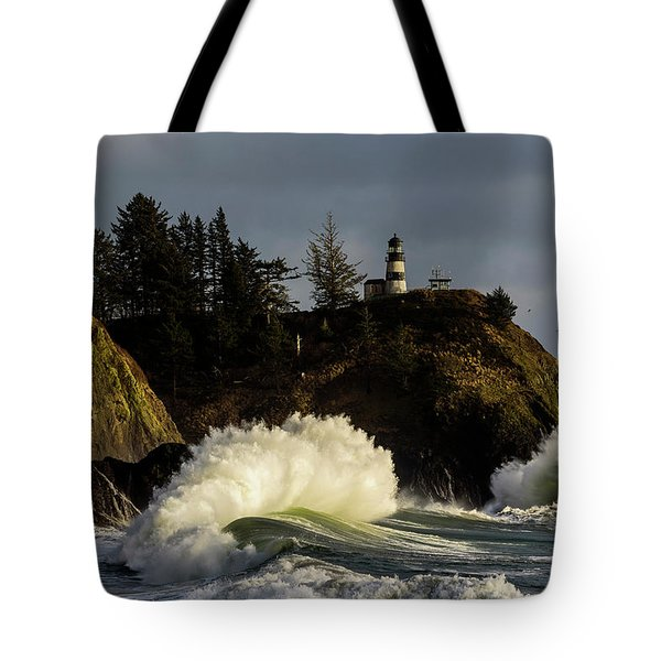 Sun And Surf With Lighthouse Tote Bag