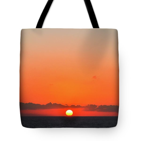 Sun Balancing On The Horizon Tote Bag