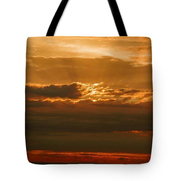 Sun Behind Dark Clouds In Vogelsberg Tote Bag