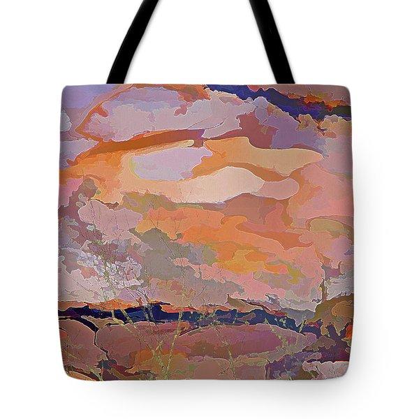 Tote Bag featuring the mixed media Sun Breaks Through by Lynda Lehmann