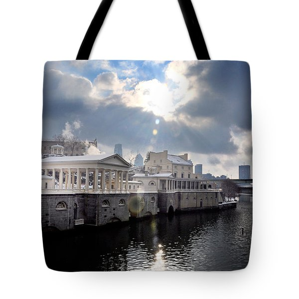 Sun Burst Over The Fairmount Water Works Tote Bag by Bill Cannon