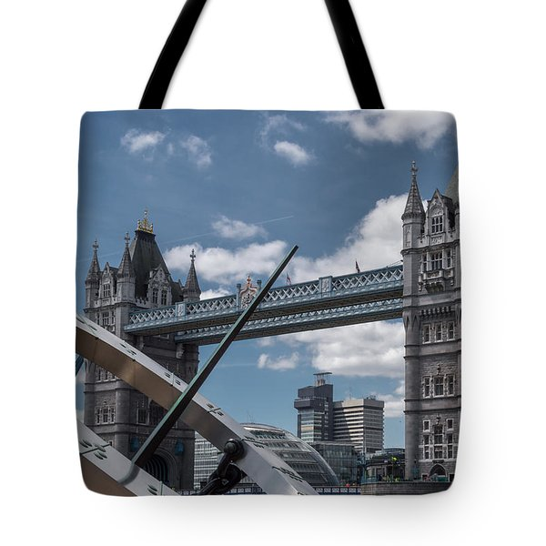 Sun Clock With Tower Bridge Tote Bag