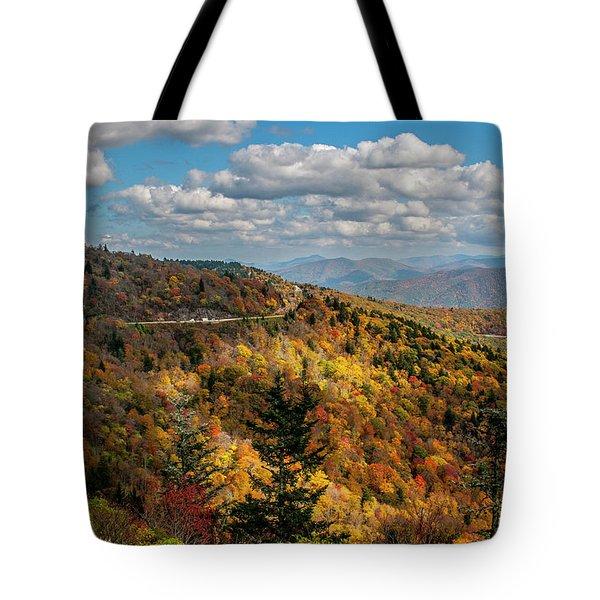 Sun Dappled Mountains Tote Bag