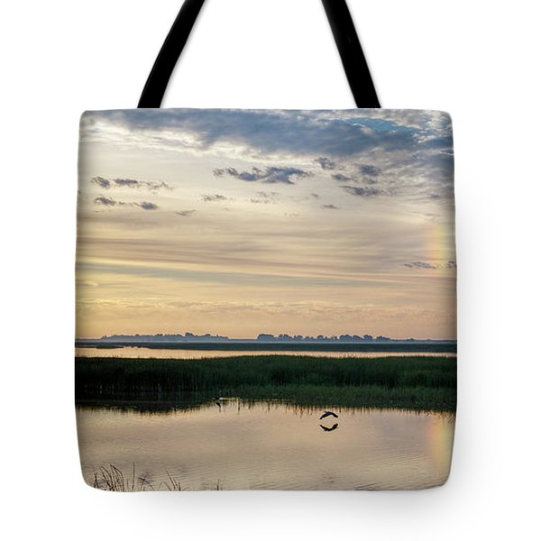 Sun Dog And Herons Tote Bag