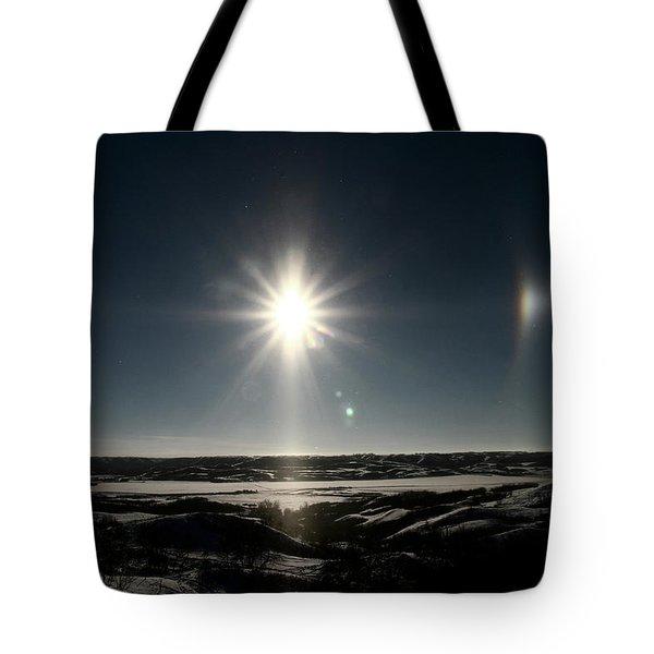 Sun Dogs Besides Settig Sun Tote Bag by Mark Duffy