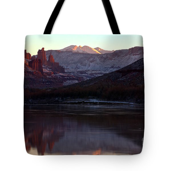 Tote Bag featuring the photograph Sun Down At Fisher Towers by Adam Jewell