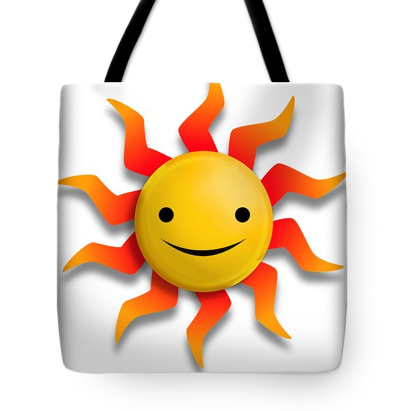 Tote Bag featuring the digital art Sun Face No Background by John Wills