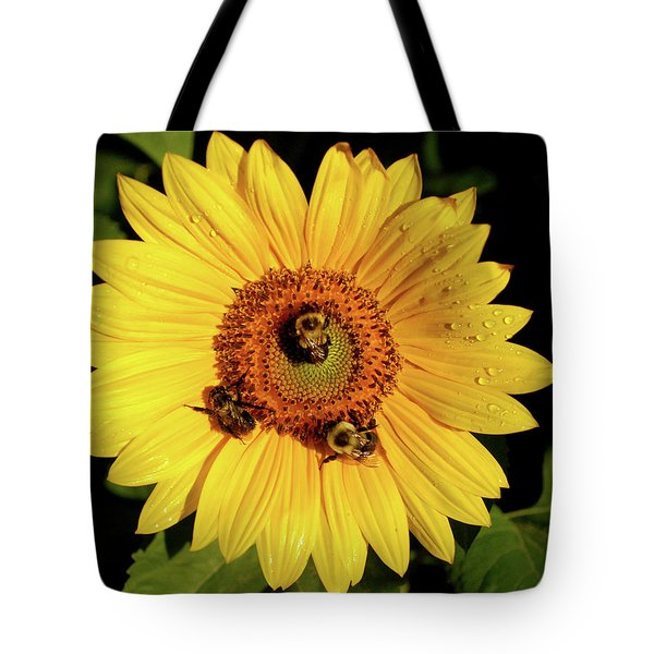 Sunflower And Bees Tote Bag