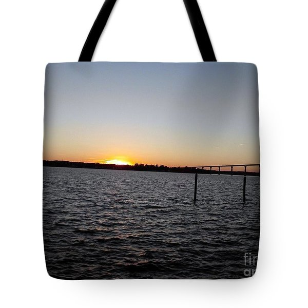 Sun Going Down Near Gov Thomas Johnson Bridge Tote Bag