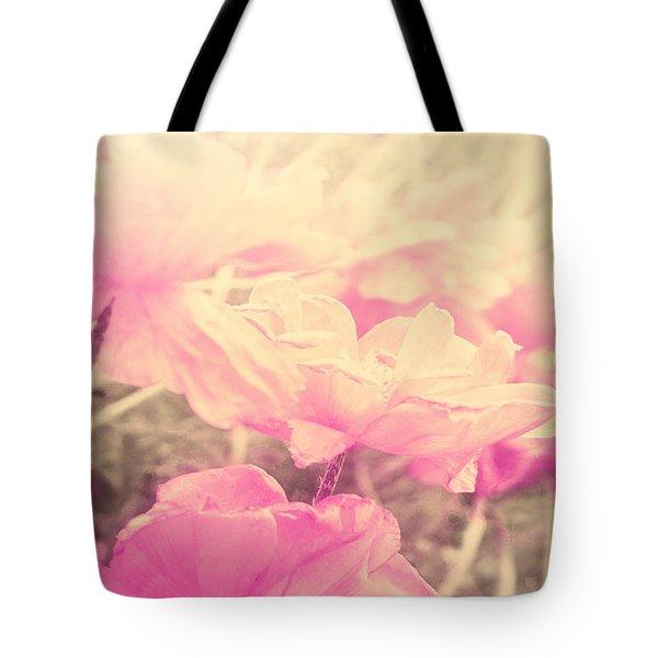 Sun Haze Poppies Tote Bag