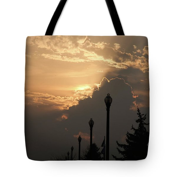 Sun In A Cloud Of Glory Tote Bag by Andee Design