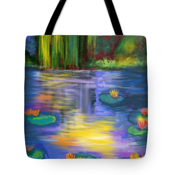 Sun Kissed Lily Pond Tote Bag
