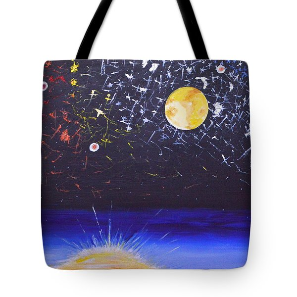 Tote Bag featuring the painting Sun Moon And Stars by Donna Blossom