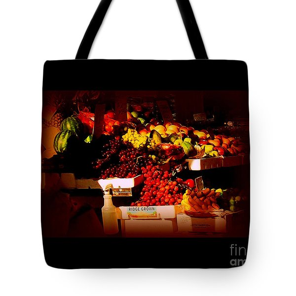 Tote Bag featuring the photograph Sun On Fruit - Markets And Street Vendors Of New York City by Miriam Danar