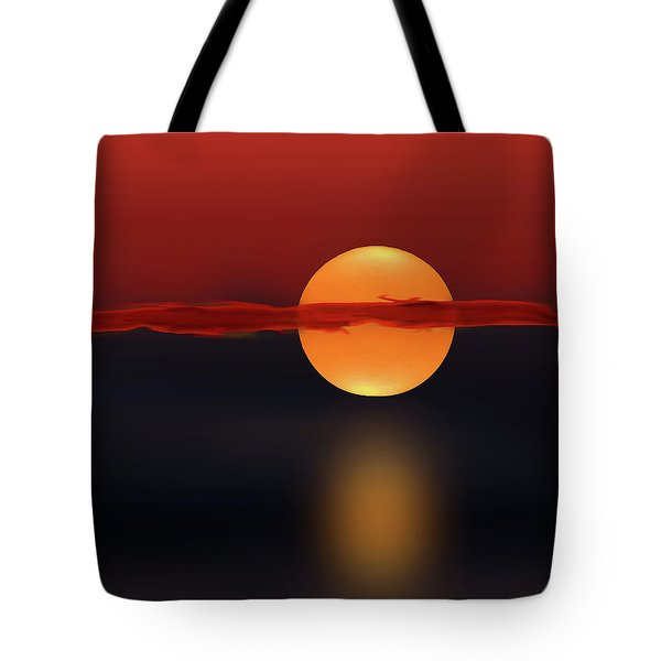 Sun On Red And Blue Tote Bag