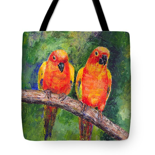 Sun Parakeets Tote Bag by Arline Wagner