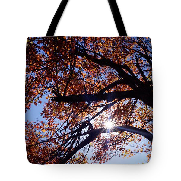 Sun Peaking Threw Tote Bag