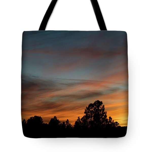 Sun Pillar Sunset Tote Bag