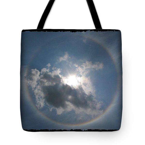 Sun Portal  A Rainbow Around The Sun With Black Border Tote Bag by Adam Long