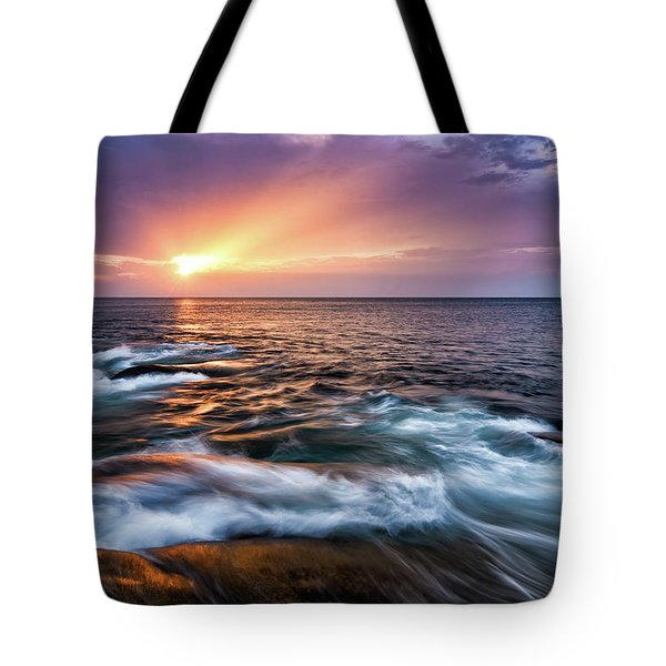 Tote Bag featuring the photograph Sun Rays, Halibut Pt. Rockport Ma. by Michael Hubley