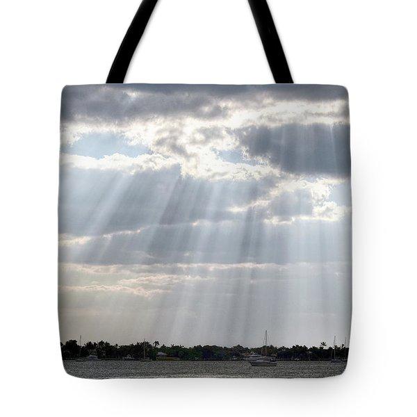Sun Rays Over Lagoon Tote Bag