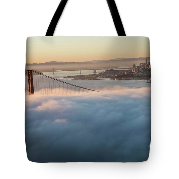 Tote Bag featuring the photograph Sun Rise At Golden Gate Bridge by David Bearden